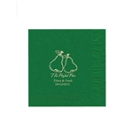 "Wedding Printed Luncheon Napkins - 6-3/4"" x 6-3/4"" Emerald"
