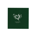 "Wedding Printed Luncheon Napkins - 6-3/4"" x 6-3/4"" Evergreen"