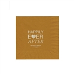 "Wedding Printed Luncheon Napkins - 6-3/4"" x 6-3/4"" Gold"
