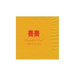 "Wedding Printed Luncheon Napkins - 6-3/4"" x 6-3/4"" Harvest Gold"
