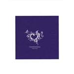 "Wedding Printed Luncheon Napkins - 6-3/4"" x 6-3/4"" Purple"
