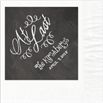 """At Last"" Chalkboard Wedding Luncheon Napkins"