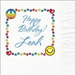 Peace-Love Birthday Luncheon Napkins