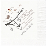 Love Birds Design Wedding Beverage Napkins