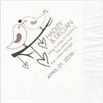 Love Birds Design Wedding Luncheon Napkins