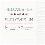 He Loves Her Design Wedding Beverage Napkins