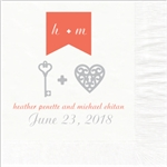 Key to the Heart Design Wedding Beverage Napkins