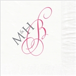 Stylish Monogram Wedding Beverage Napkins