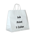 1 Color Ink-Printed Panther White Kraft Paper Shopping Bag