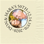 Anniversary Circle Photo Beverage Napkins