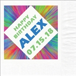 Colorburst Birthday  Photo Beverage Napkins