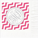 Chevron Monogram Mitzvah Design Luncheon Napkins