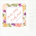 Watercolor Floral Design Wedding Beverage Napkins