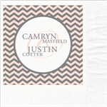 Chevron Monogram Wedding Beverage Napkins
