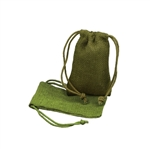 Small Moss Green Jute Pouches
