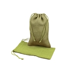 "6"" x 10"" Moss Green Jute Pouches"