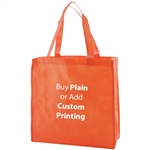 "Orange Non-Woven 13"" x 5"" x 13"" Tote Bags - 18"" Handle"