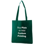 "Dark Green Non-Woven 15"" x 16"" Tote Bags - 28"" Handle"
