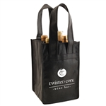 Black Non-Woven 4 Bottle Wine Tote Bags