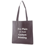 "Charcoal Non-Woven 15"" x 16"" Tote Bags - 28"" Handle"