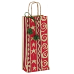 Printed Single Bottle Wine Bags - Homespun Christmas/Kraft