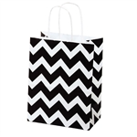 Recycled Black Chevron Paper Shopping Bags