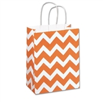 Recycled Orange Chevron Paper Shopping Bags