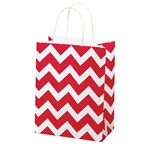 Recycled Red Chevron Paper Shopping Bags
