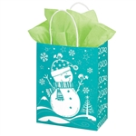 Recycled Snowman Paper Shopping Bags
