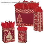 Homespun Christmas/Kraft Patterned Shopping Bags