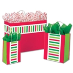 Santa Stripe Patterned Shopping Bags