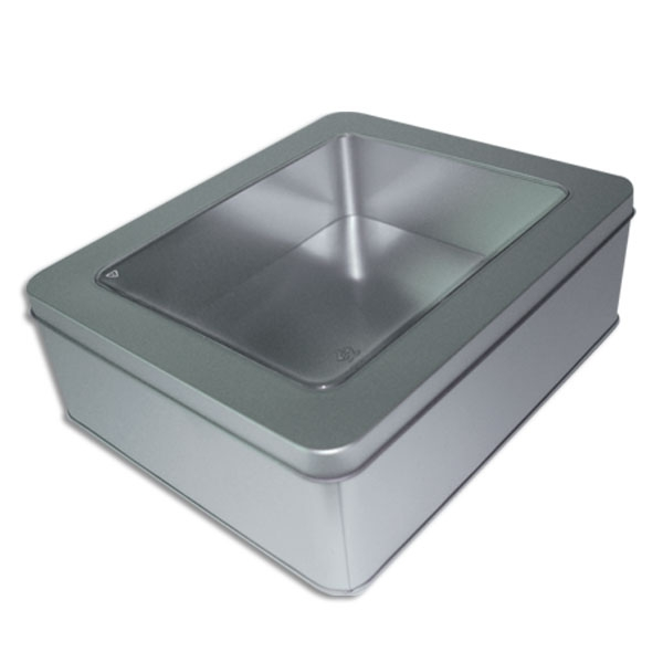 large rectangle tins with windows
