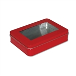 Red Rectangle Tins with Windows