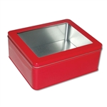 Red Tin Boxes-Medium Rectangle with Window