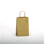 "Gold Kraft Paper Shopping Bags: 5-1/4"" x 3-1/2"" x 8-1/4"" - 250 Bags"