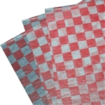 Waxed Tissue Paper Food Sheets - Bistro Checks, red and white (5000 Sheets)