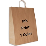 1 Color Ink-Printed Zebra Kraft Paper Shopping Bag