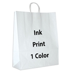 1 Color Ink-Printed Zebra White Kraft Paper Shopping Bag