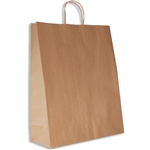 "100% Recycled Kraft Paper Shopping Bags - Zebra 16 x 6  x 19-1/4"" - 200 Bags"