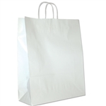 "White Gloss Paper Shopping Bags: 16"" x 6"" x 19-1/4"" - 200 Bags/Case"