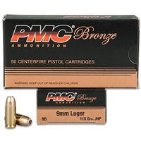 PMC 9mm Ammo - JHP 115 Grains - 50 Rounds