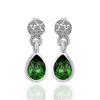 Delicate silver-plated earrings with green stone