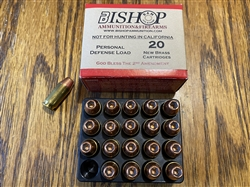 Bishop .45 ACP ( 45 Auto ) Defense Ammunition 230 grain Rainier HEX Hollow Point, Copper Plated. Per 20