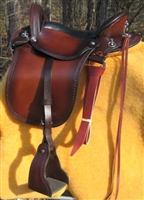English stirrup leathers on a Sinclair saddle.