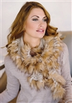Fabulous Furs Taupe Faux Fur-Trimmed Knit Ruffle Scarf
