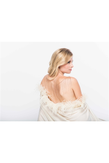 Aspen True 100% Fine Cashmere Wrap with Long Ostrich Feathers