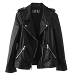 Luv Aj Leather Moto Jacket in Plain Lambskin with Chrome Hardware