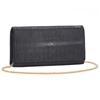 VIVO Studio Genuine Shagreen Solid Color Perfect Clutch with Chain