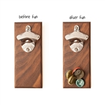 Wood Thumb Magnetic Bottle Opener - Solid Walnut