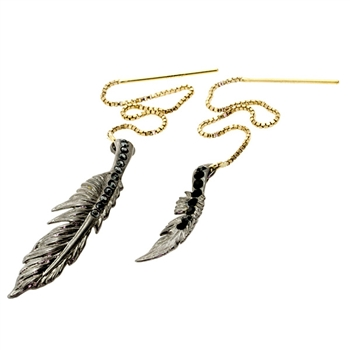 Colette Malouf Raven Feather Threader Earring
